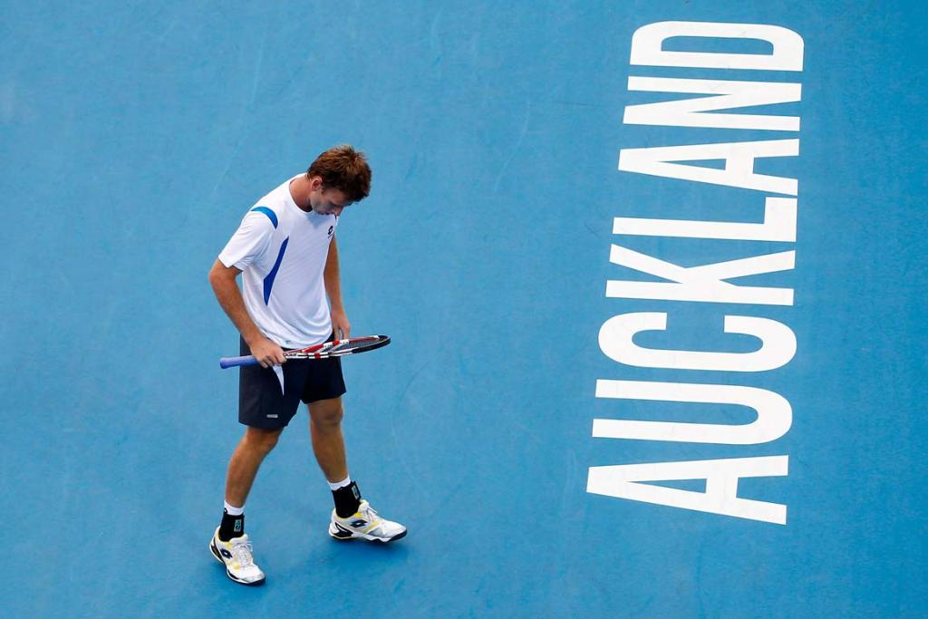 New Zealand's Michael Venus during his first round singles match against Columbia's Santiago Giraldo at the 2012 Heineken Open in Auckland.