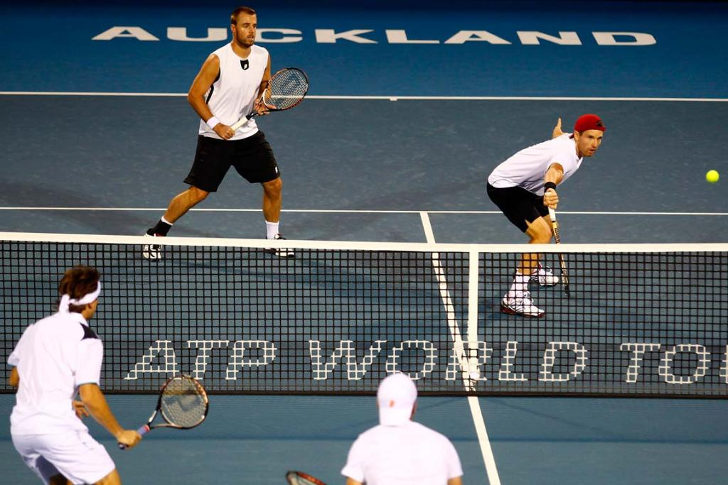 Oliver Marach and Alexander Peya during their doubles match against David Ferrerr and Albert Montanes at the Heineken Tennis Open in Auckland.