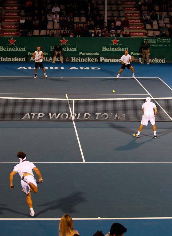 Oliver Marach and Alexander Peya during their doubles match against David Ferrer and Albert Montanes at the Heineken Tennis Open in Auckland.