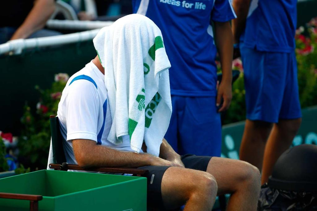 New Zealand's Michael Venus rests between sets during his first round singles match at the 2012 Heineken Open in Auckland.
