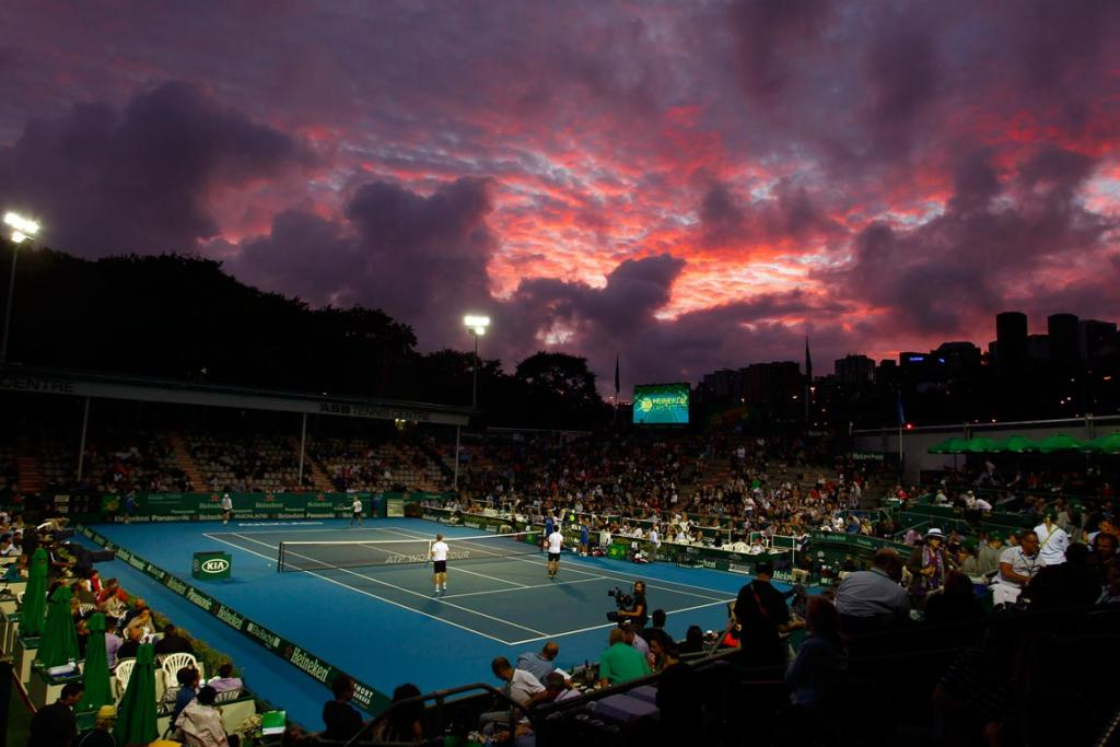 General view of centre court at sunset during the evening session at the Heineken Tennis Open Day 2.