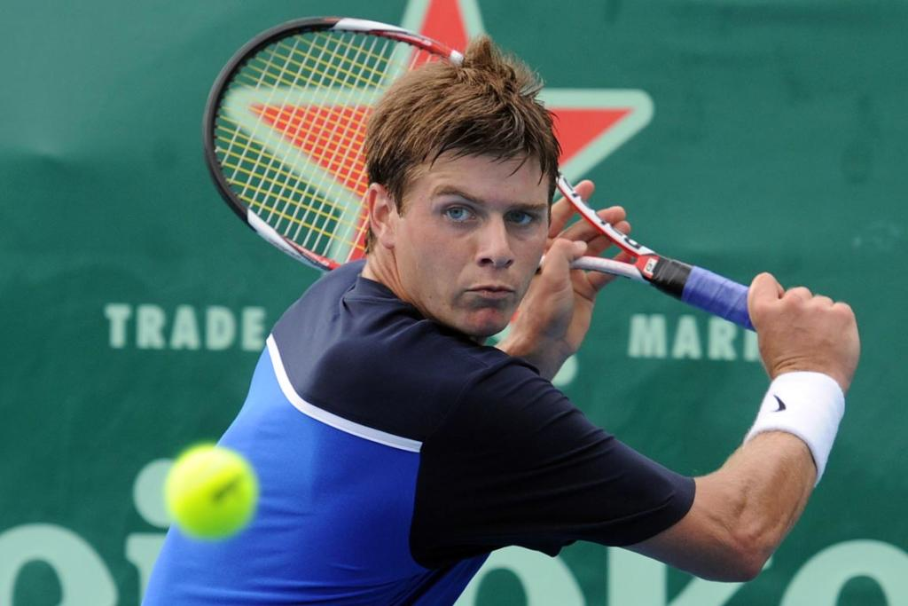 USA's Ryan Harrison in action during his first round singles match.