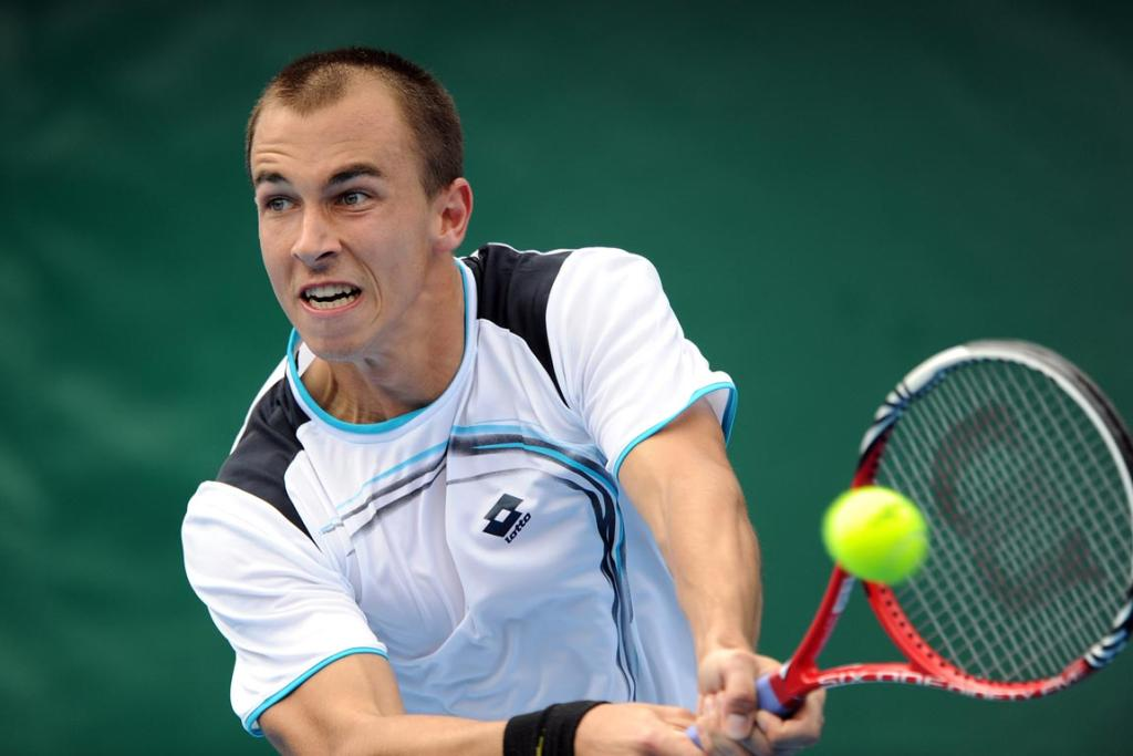 Lukas Rosol during his first round singles match.