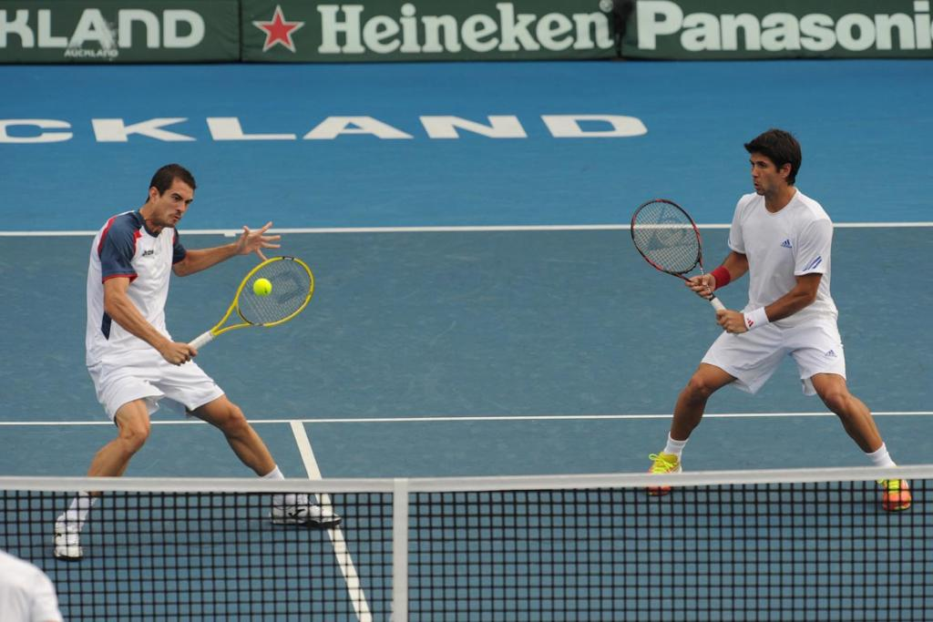 Doubles pair of Guillermo Garcia-Lopez and Fernando Verdasco of Spain.