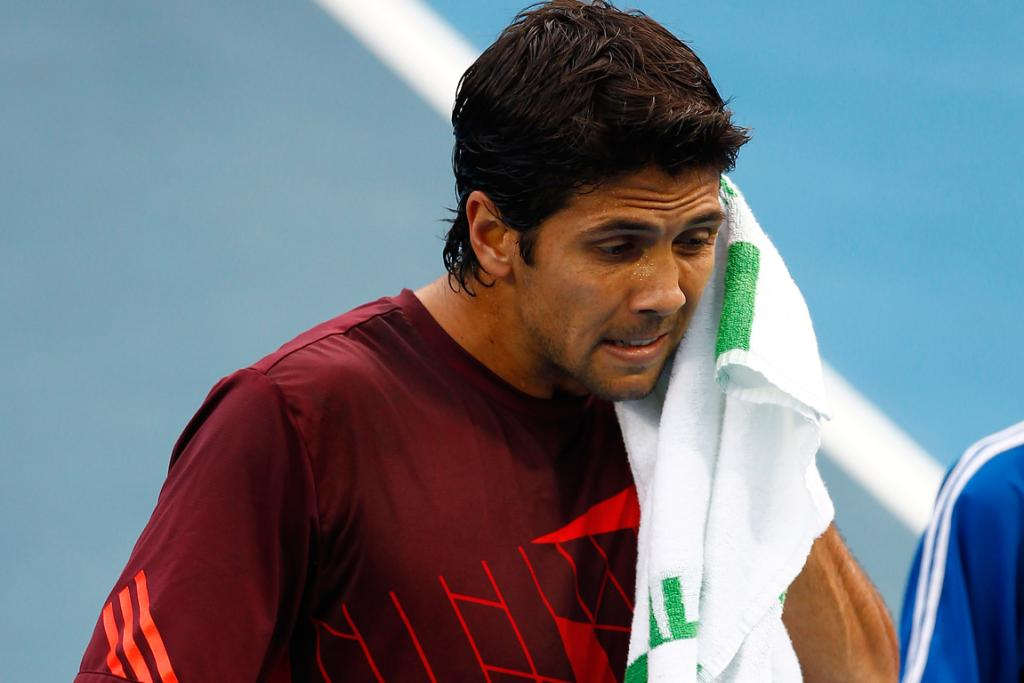 Fernando Verdasco during his match against Carlos Berlocq at the Heineken Open.