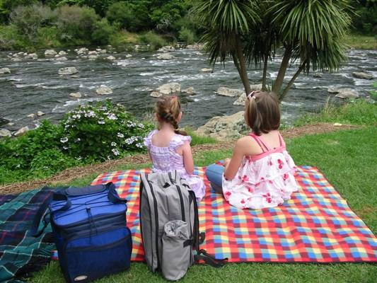 Riverside idyll: Adele Parsons composed this Kiwi picnic scene of cousins Anneka and Amy waiting for lunch at Karangahake Gorge.