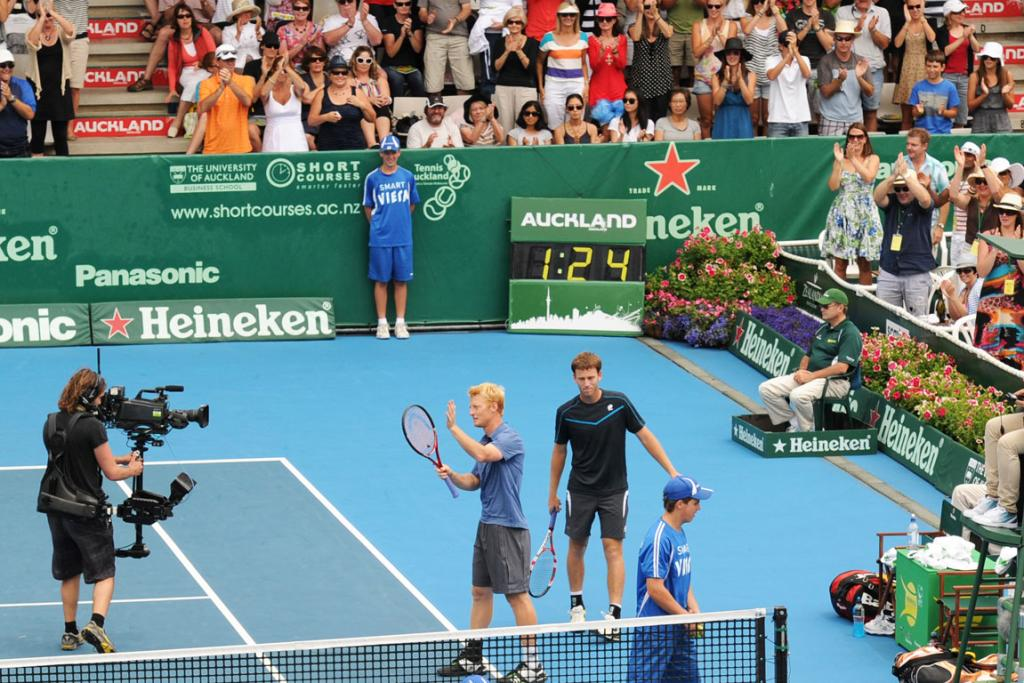 New Zealand doubles pair Dan King Turner and Michael Venus during their quarterfinal doubles victory.