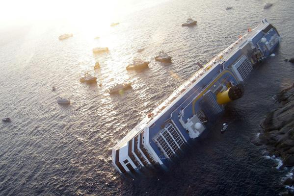 The grounded Costa Concordia cruise ship off the west coast of Italy at Giglio island.
