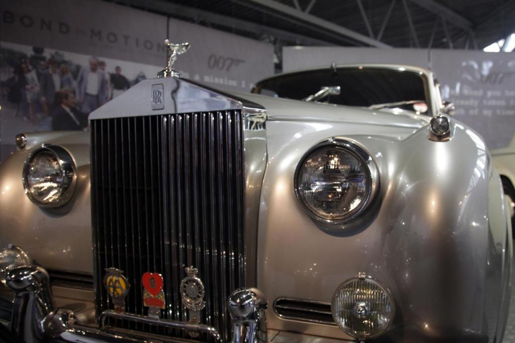 A Rolls-Royce Silver Cloud II that was used in the James Bond film A View To A Kill in the Bond In Motion exhibition, showcasing a wide variety of vehicles used in the films.