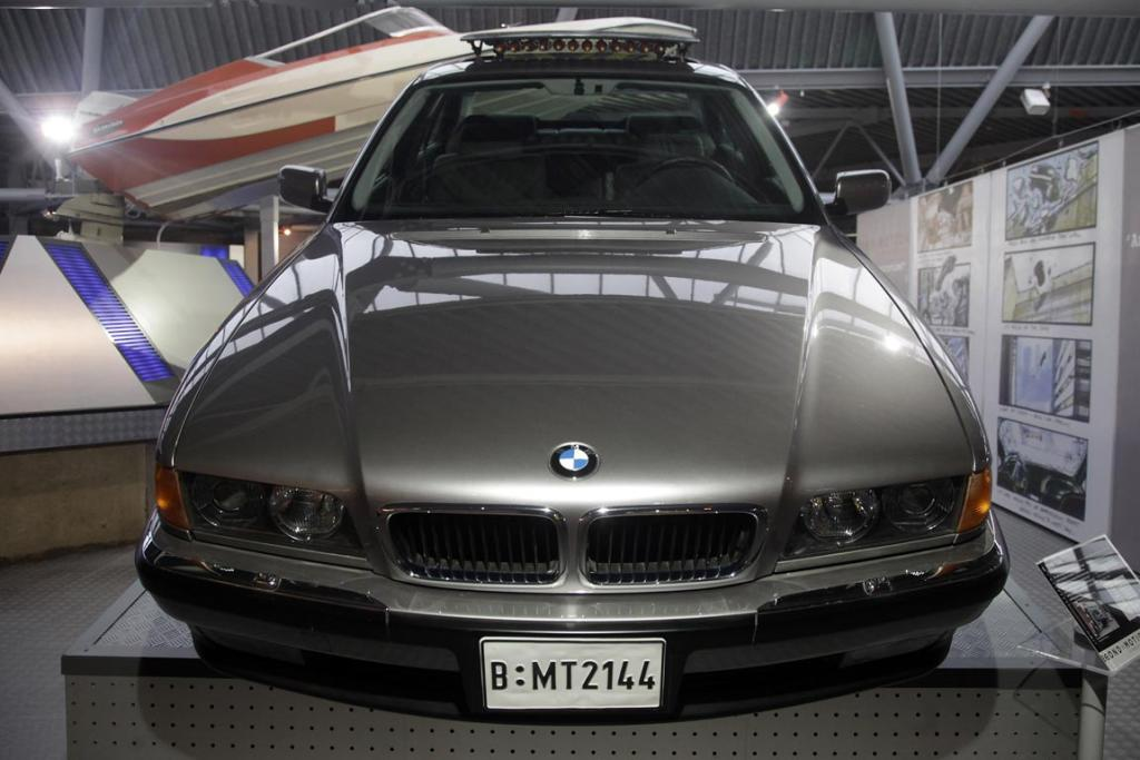 A BMW750iL that was used in the 1997 James Bond film Tomorrow Never Dies in the Bond In Motion exhibition, showcasing a wide variety of vehicles used in the films.
