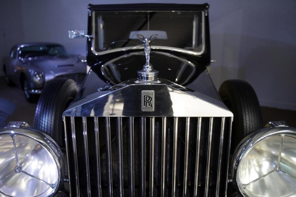 A Rolls-Royce Phantom III that was used in the James Bond film Goldfinger in the Bond In Motion exhibition, showcasing a wide variety of vehicles used in the films.