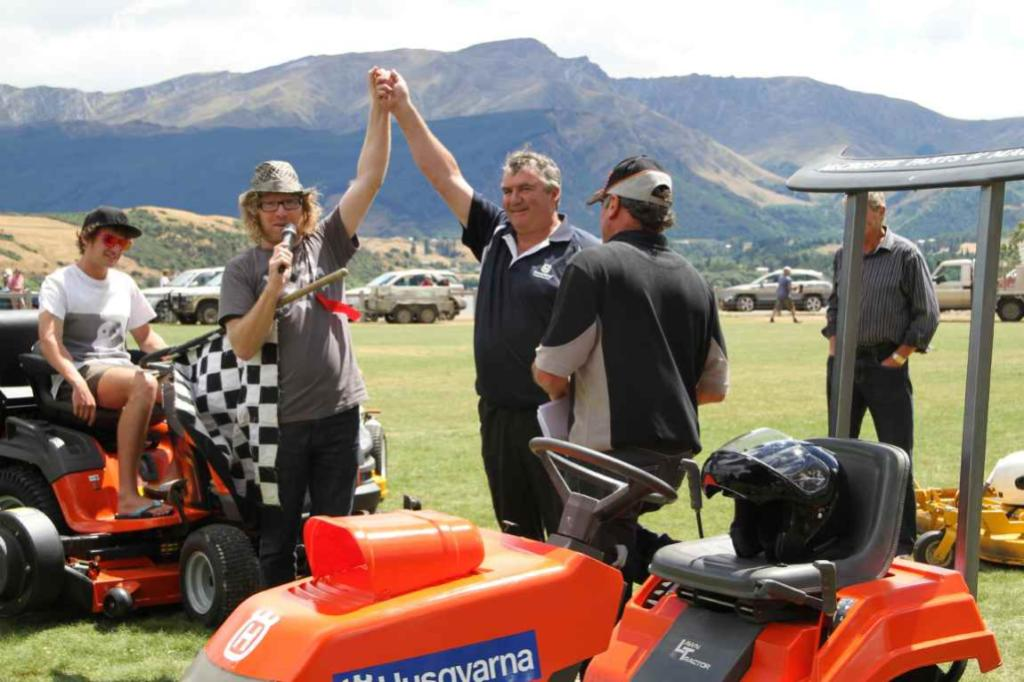 MC and comedian Te Radar declares Alan McCrostie, of Alexandra, the winner of the lawnmower race at the 2012 Lake Hayes A & P Show now in its 97th year.