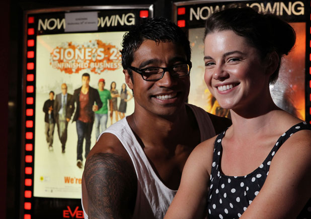 Star attractions: Pua Magasiva, who plays Sione, and Jessica Grace Smith, who plays Lilith, in Hamilton for the premiere of Sione's 2: Unfinished Business.
