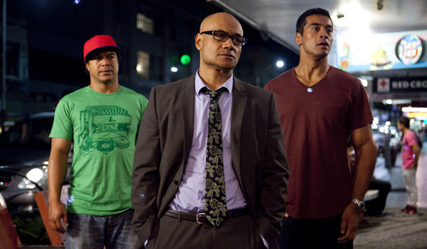 Not funny: Sione's 2: Unfinished Business misses the mark. From left, Shimpal Lelisi, Oscar Kightley and Robbie Magasvia.