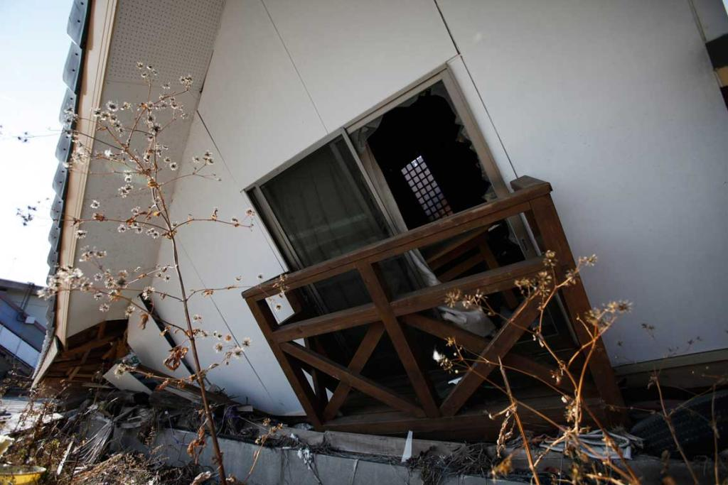 A house destroyed by the 2011 tsunami is seen in the Fukushima exclusion zone.