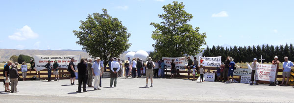 Spy base vigil: Protesters gathered at the Waihopai Valley spy base on Saturday calling for the closure of the Government-run base