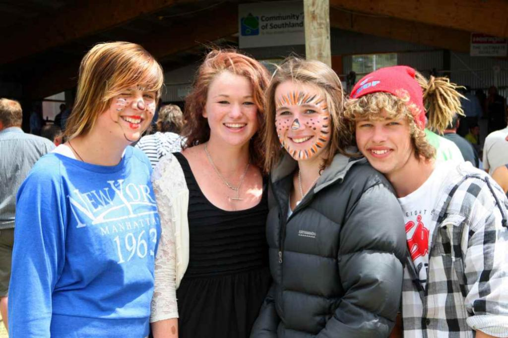 WINTON A & P SHOW: Showing off their face paint are, from left, Chelsea Brown, Sinead Dunn, Riley McDermott and Reuben Wilson.