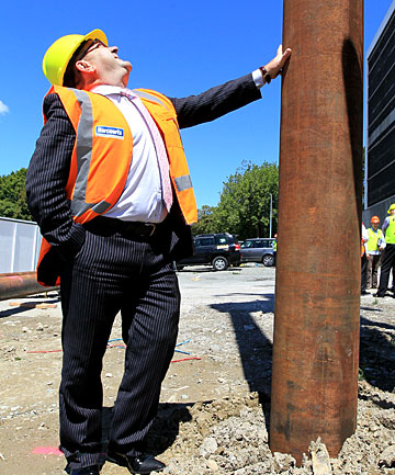GOING UP: Grenadier Harcourts'  Robert McCormack at the site on Madras St in Christchurch, where the company's new office is being built.