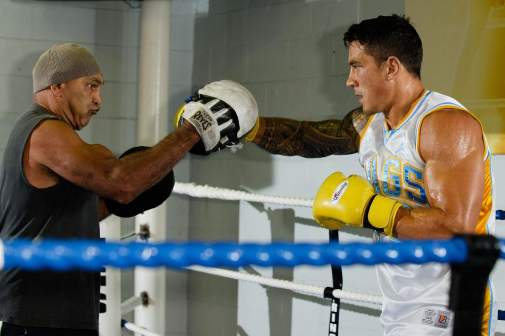 Sonny Bill Williams helped at a sparring session by former Australian boxing great Tony Mundine, father of Anthony Mundine.