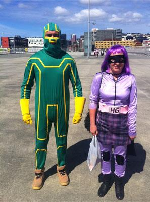 Mel and Phil from Christchurch as characters from the film Kick Arse.