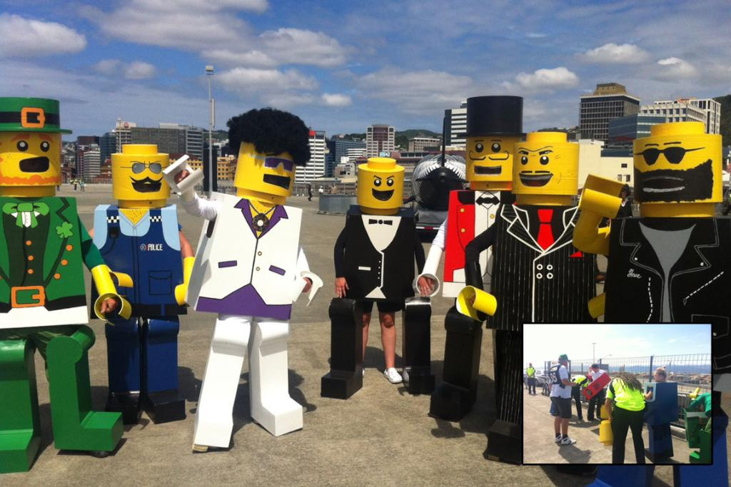 Lego Men, from Palmerston North. Inset: the Lego Men are frisked.