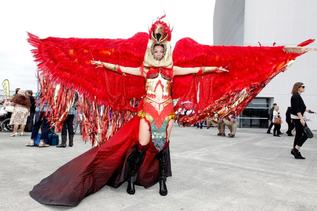 Rana Sorenson's Phoenix costume was hand made in Italy and includes 2500 feathers. It was shipped to New Zealand in 2009 for the World of Wearable arts festival.