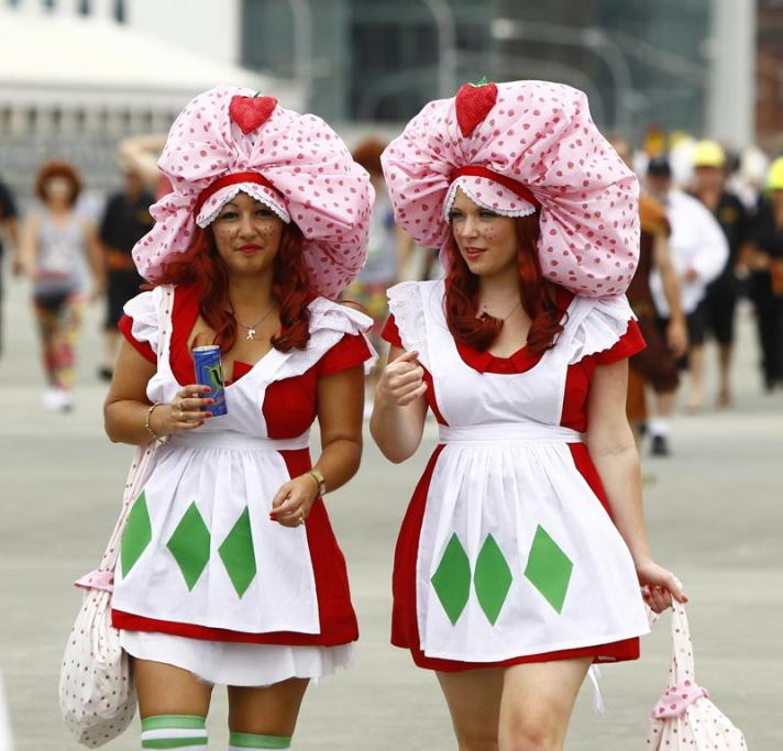 Strawberry shortcakes Anna Coffin, left, and Joleen Asquith.