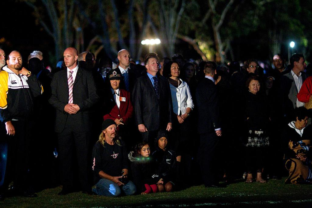 Prime Minister John Key arrives at today's dawn service at Waitangi.