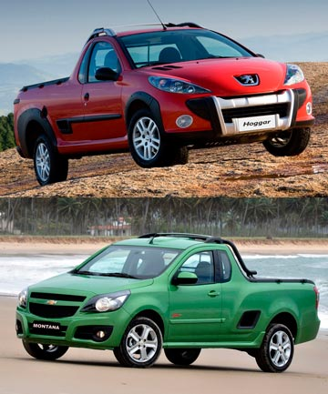 The Peugeot Hoggar (top) and the Chevrolet Montana.