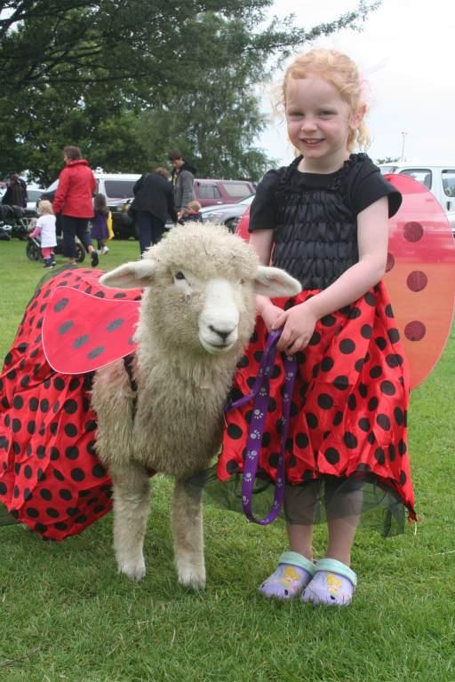 GORE A & P SHOW: Maia Fincham, 3, of Invercargill, and her pet lamb Nimo are ladybirds in disguise.
