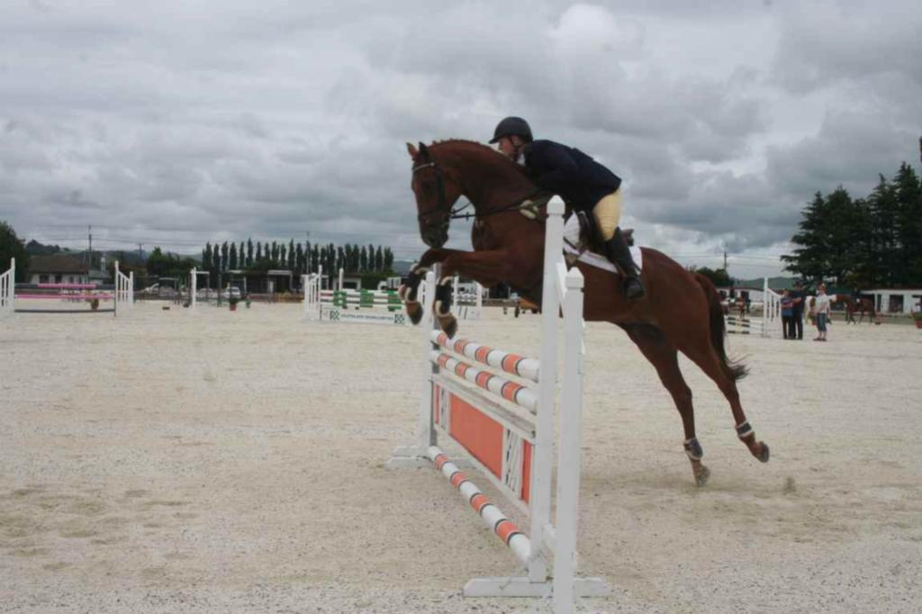 GORE A & P SHOW: Kate Christie, of Winton, takes Pete through his paces in the new all-weather equestrian arena.