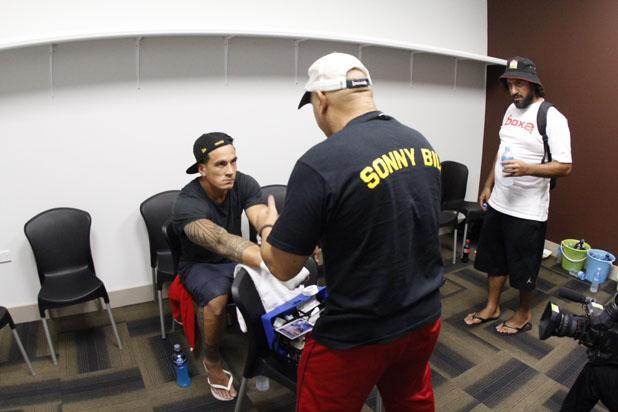 Sonny Bill Williams in the changing room.
