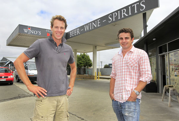 Wine lovers: Wino's owners David Clouston, left, and Clive MacFarlane are confident their liquor store selling beer, wine and spirits will hit the right spot for many in Marlborough.
