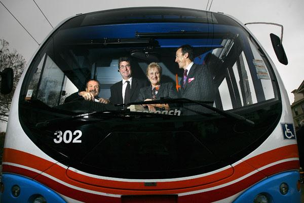 Bill Rae, Ian Buchanan, Annette King and Lloyd Morrison after Stagecoach and Greater Wellington did a deal to get a new fleet of buses  for Wellington commuters.