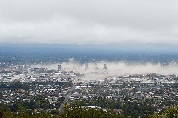 Dust clouds over Christchurch just after the February 22 quake taken by Gilly Needham from her home in the Cashmere Hills.