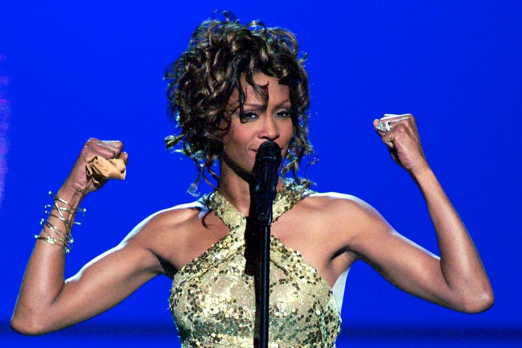 Whitney Houston performs the song Try It On My Own in 2003.