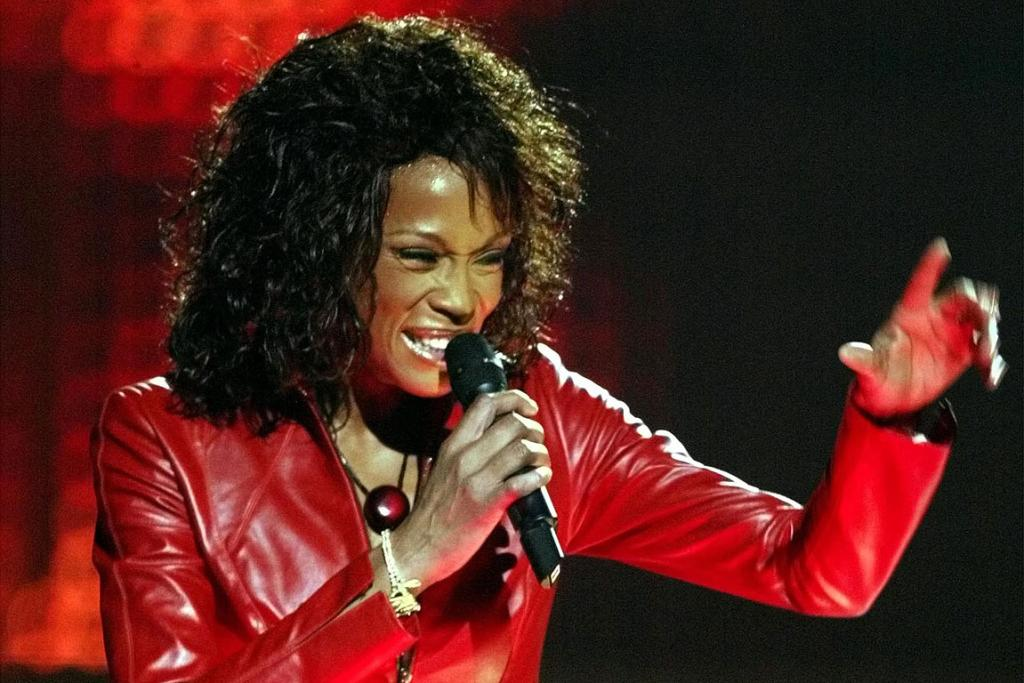 Whitney Houston performs during the MTV Europe Music Awards in 2002.