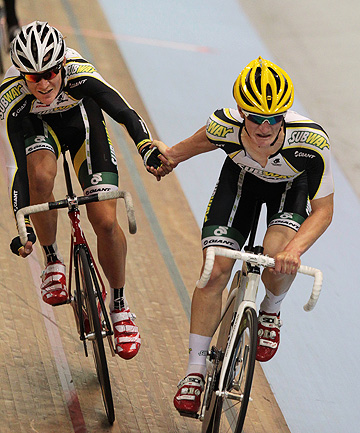 TOP TALENT: Waimate's Dylan Kennett, right,  and Hayden McCormick  on their way to winning the madison at the elite championships in Invercargill.