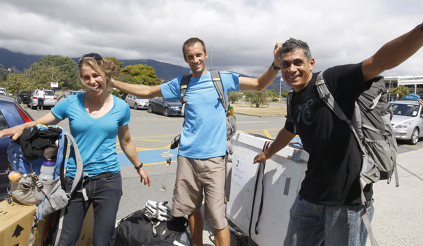 FLYING HIGH: Team Seagate Sophie Hart, Trevor Voyce and Nathan Fa'avae are off to race in Argentina.