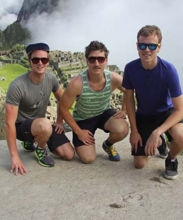 Troy Bilbrough, Alan Carnaby and Guy Parsons at Machu Picchu in Peru.