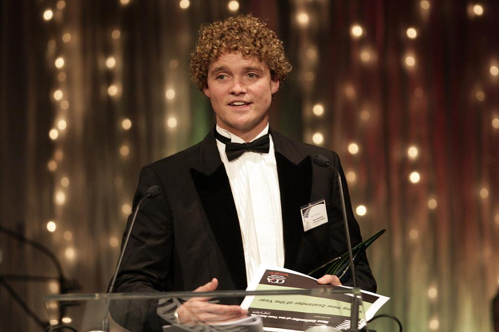 Sam Johnson accepts his award for Young New Zealander of the Year.