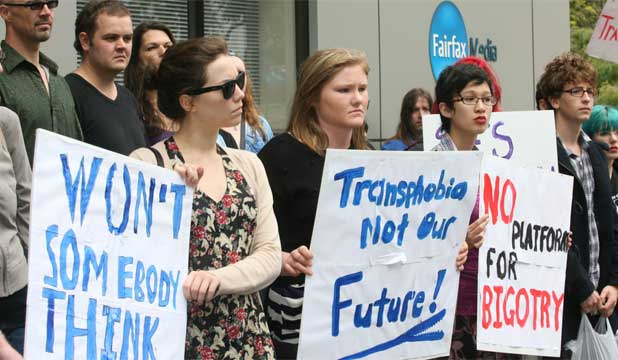 Transphobia protest