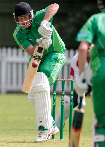 Marist batsman Dave Meiring working one into the onside during his 59 against Freyberg at Fitzherbert Park on Saturday.