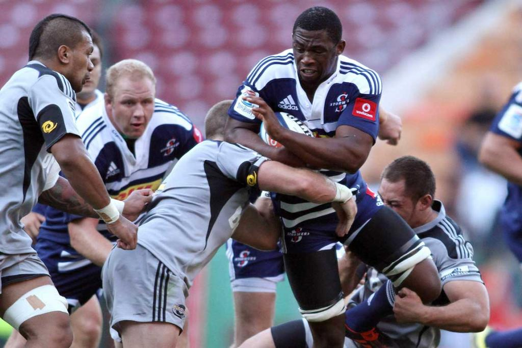 Siya Kolisi of the Stormers attempts to break through the Hurricanes line at Newlands.