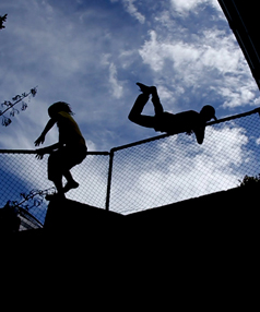 Fit and flexible: Parkour involves climbing or leaping solid objects with ease.