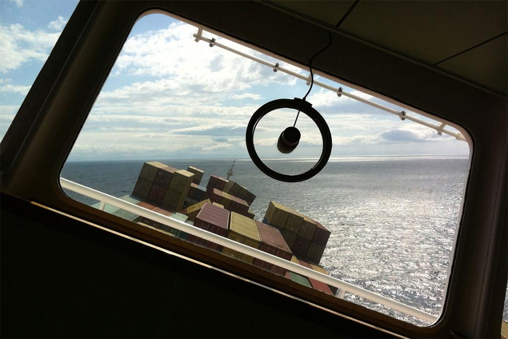 Photo taken by salvage team looking out of Rena's bridge showing the list of the vessel against the horizon.