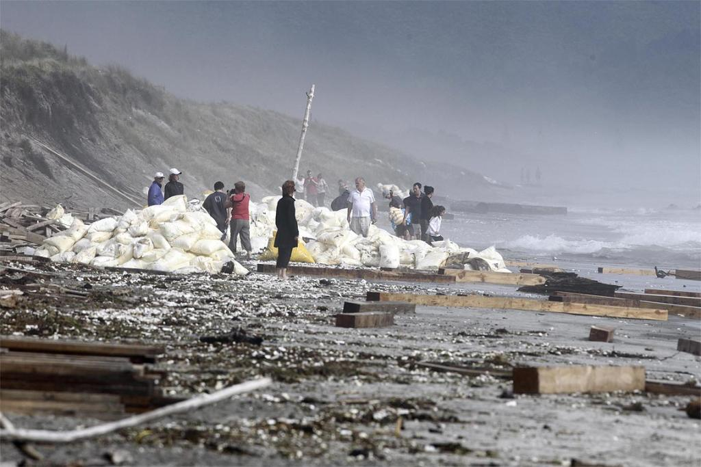 Debris washed ashore at Waihi beach from the sinking cargo ship Rena.