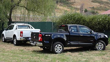 As well as the double cab (background),  Holden will offer an extended cab Colorado (right) and a single cab model.