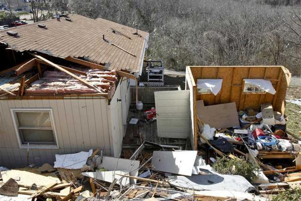 A house destroyed by the tornado in Branson, Missouri.
