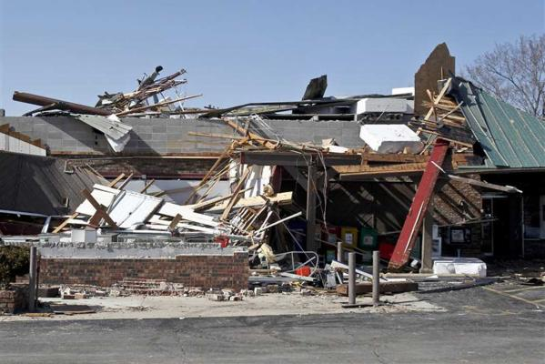A view of a destroyed building after a tornado hit Branson, Missouri.